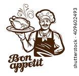 cooking vector logo. chicken ... | Shutterstock .eps vector #409602493