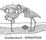 flamingo bird coloring book for ... | Shutterstock .eps vector #409609924