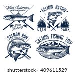 vintage salmon fishing emblems  ... | Shutterstock .eps vector #409611529