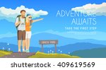 vector flat web banner on the... | Shutterstock .eps vector #409619569