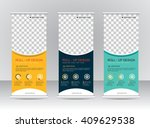 roll up banner stand template...   Shutterstock .eps vector #409629538