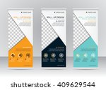 roll up banner stand template...   Shutterstock .eps vector #409629544