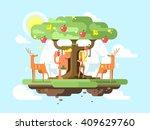 adam and eve near a tree | Shutterstock .eps vector #409629760