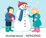 children and snowman | Shutterstock .eps vector #40963900