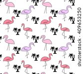 pink flamingos and black palm... | Shutterstock .eps vector #409653250