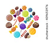 Sweet Candies Flat Icons Set I...