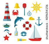 Nautical Colored Icon Set With...