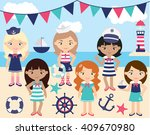 ship mates  girl sailors  | Shutterstock .eps vector #409670980