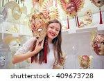 young european bride is walking ... | Shutterstock . vector #409673728