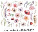 Watercolor Boho Flower Set....