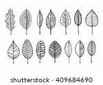 vector doodle leaves set. | Shutterstock .eps vector #409684690