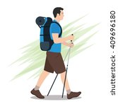 side view of hiker with... | Shutterstock .eps vector #409696180