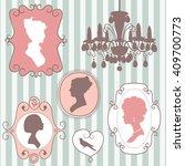 cute vintage frames with ladies ...   Shutterstock .eps vector #409700773