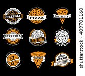 vector pizza logo set of... | Shutterstock .eps vector #409701160