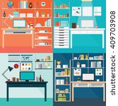 set of modern home office... | Shutterstock .eps vector #409703908