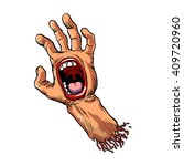 hand with mouth cartoon | Shutterstock .eps vector #409720960