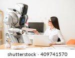 nice girl and robot working in... | Shutterstock . vector #409741570
