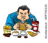 a fat man with the fast food.  | Shutterstock .eps vector #409743133
