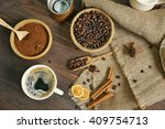 Coffee With Beans And Spices O...