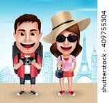 tourist traveler couple vector... | Shutterstock .eps vector #409755304