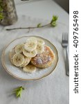 cottage cheese pancakes with... | Shutterstock . vector #409765498