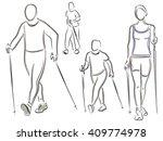 nordic walking  figures of...   Shutterstock .eps vector #409774978