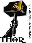 thors hammer   skull | Shutterstock .eps vector #409785514