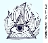 an eye with pyramid in fire on... | Shutterstock .eps vector #409794160