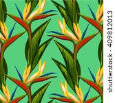 bird of paradise flower vector... | Shutterstock .eps vector #409812013