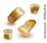 golden cinema tickets | Shutterstock .eps vector #409812946