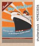 retro sea traveling poster.... | Shutterstock .eps vector #409823836