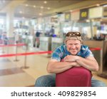 tourist man sitting with... | Shutterstock . vector #409829854