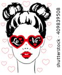 fashion girl face with... | Shutterstock .eps vector #409839508