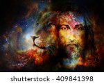 painting of jesus with a lion... | Shutterstock . vector #409841398