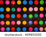 colorful bowls with wooden... | Shutterstock . vector #409853350