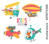 Stock vector kids transport collection with cute animals part vector illustration on a white background 409870588