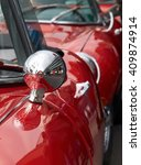 Close Up Of Red Vintage Cars...