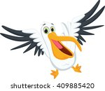 cute pelican cartoon | Shutterstock . vector #409885420