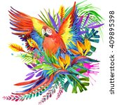 parrot. tropical forest... | Shutterstock . vector #409895398