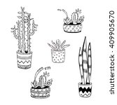 flowers in a pot. succulents ... | Shutterstock .eps vector #409905670