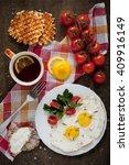 breakfast   scrambled eggs ... | Shutterstock . vector #409916149