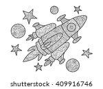 cartoon spaceship coloring book ...   Shutterstock . vector #409916746