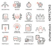 vector set of 16 thin icons... | Shutterstock .eps vector #409917043