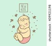 cute little newborn baby... | Shutterstock .eps vector #409921198