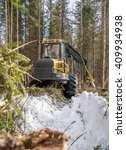 Small photo of Vertical photo of logger in winter forest
