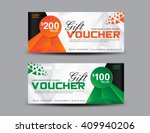 orange and green gift voucher... | Shutterstock .eps vector #409940206