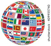 sphere with world flags... | Shutterstock .eps vector #409955740