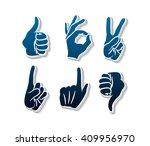vector hands icons set. like.... | Shutterstock .eps vector #409956970