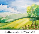 watercolor summer landscape.... | Shutterstock . vector #409965550