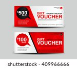 red gift voucher  coupon design ... | Shutterstock .eps vector #409966666